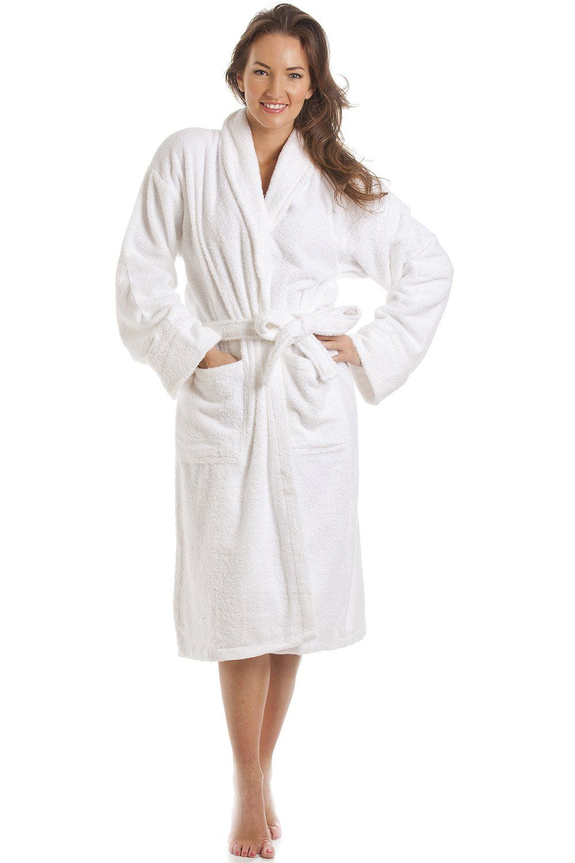 ba8bcddd67e Womens Luxury White 100% Cotton Towelling Bath Robe Size Large ...