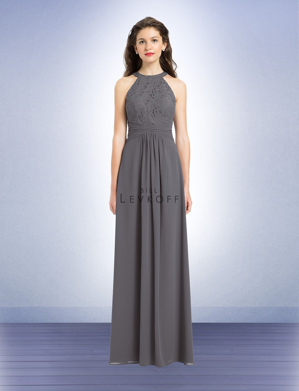 Bill levkoff high neck lace full length bridesmaid dress