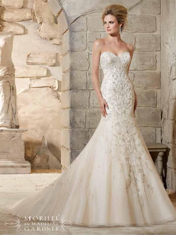 Mori Lee 2790 Swarovski crystal beaded fit-and-flare wedding dress ...