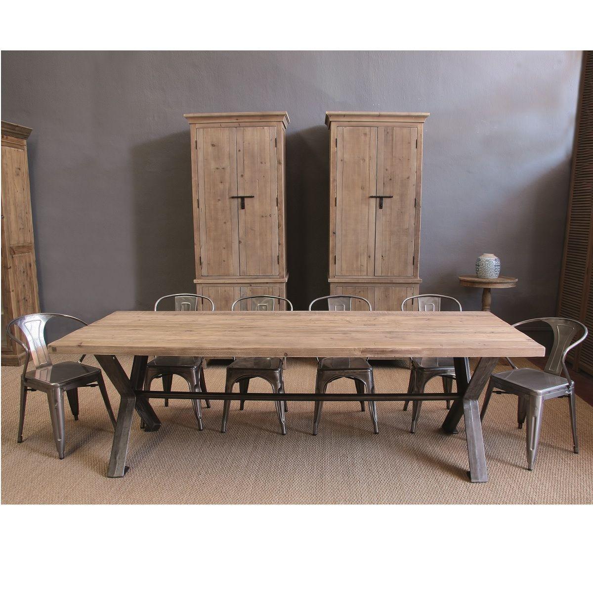 sw11120 1 mesa de madera maciza y acero 250x95x78 - Mesas De Madera Maciza