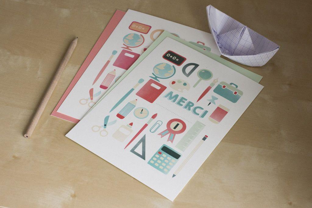 Printable l 39 cole est finie carte merci ma tresse by atelier rosemood - Remerciement maitresse d ecole cp ...