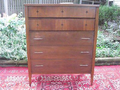 Broyhill Saga Tall Boy Credenza / Dresser Mid Century Danish Modern Star  Burst | Used Mid