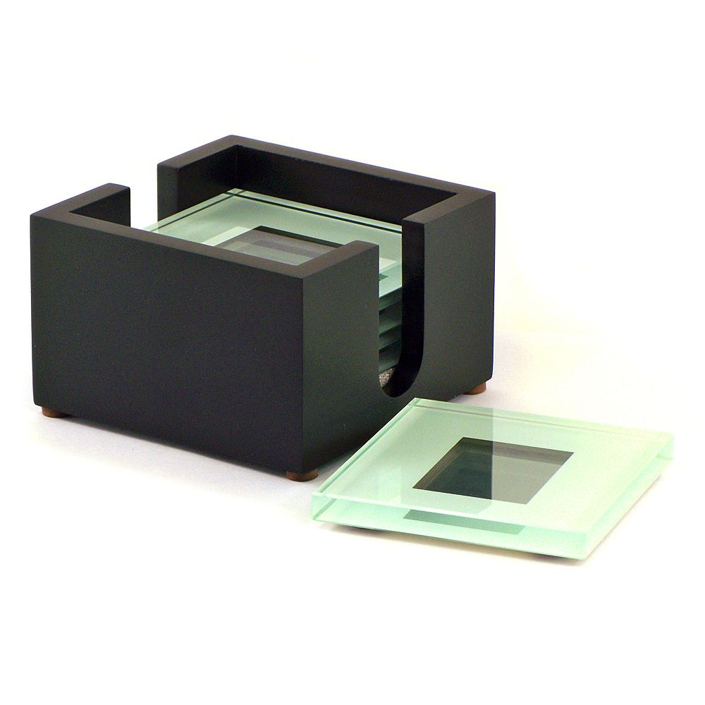 AITG 4 Square Glass Coaster Picture Frame With Black Holder TS ...