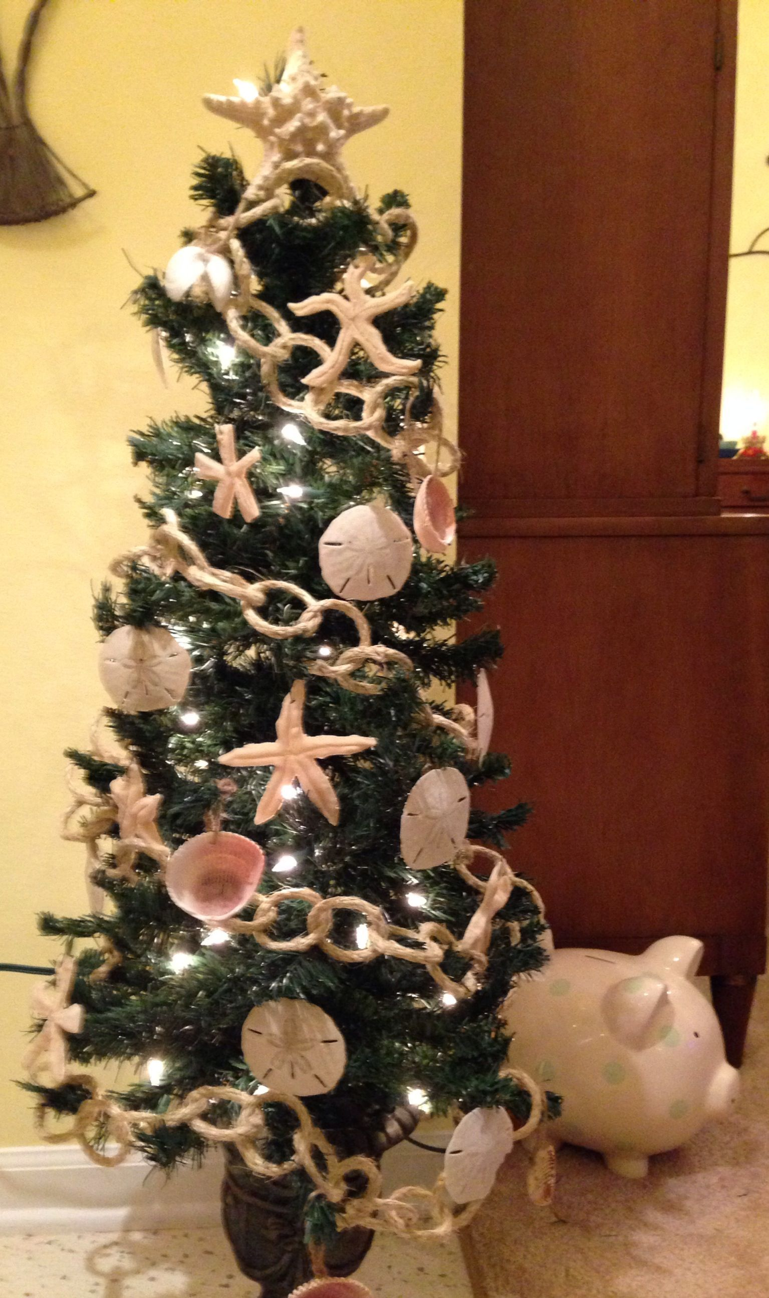 Beach Themed Tree With Rope Chain, Sand Dollars, Shells And