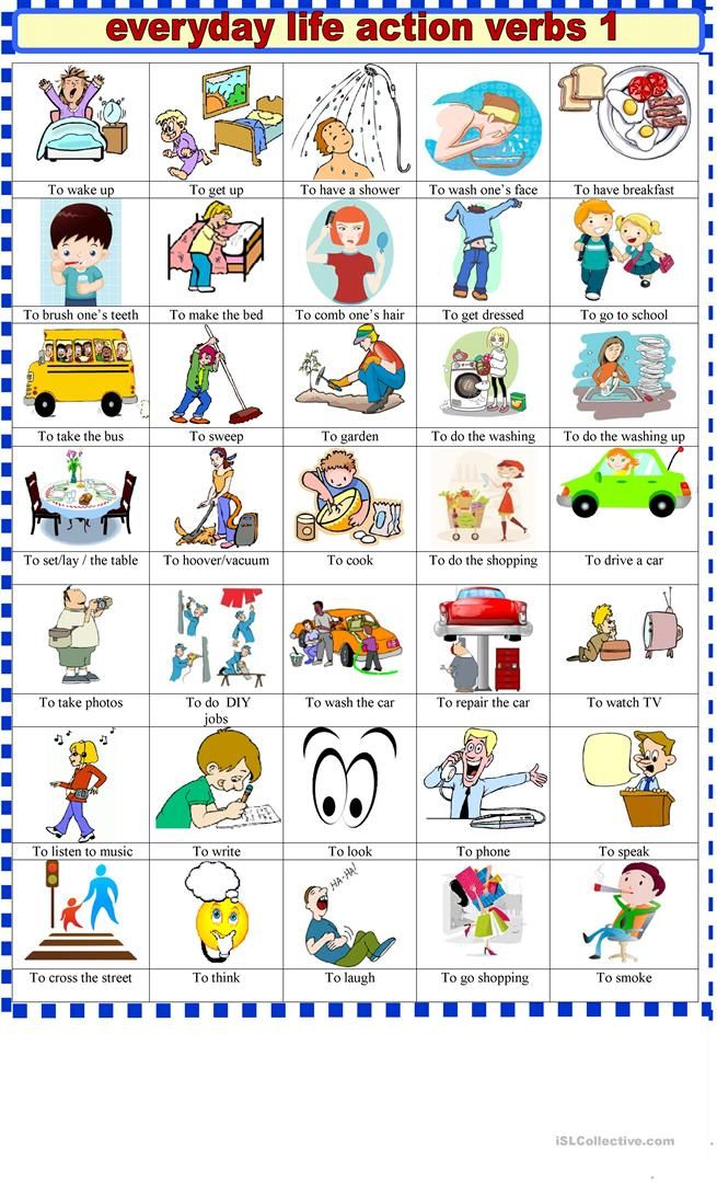 Everyday life action verbs 1 English class Pinterest Action
