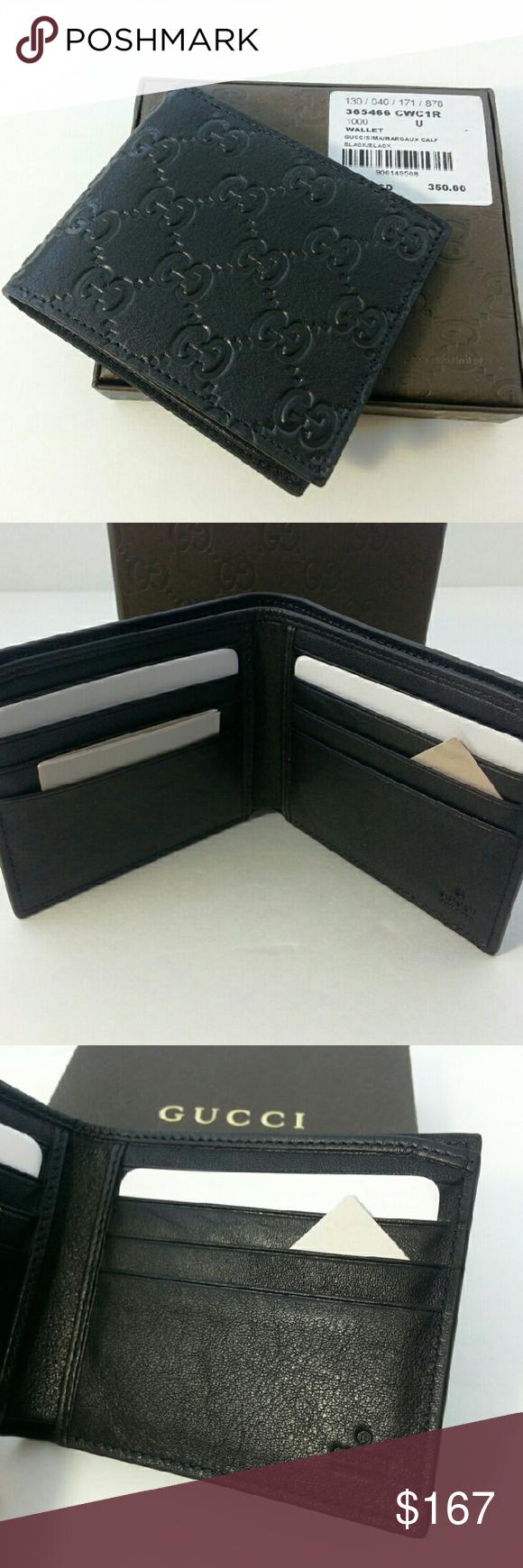 670745cbcba GUCCI Original Mens Black Bi fold Wallet W04 GUCCI Original Authentic Mens  Black Bi fold Guccisima