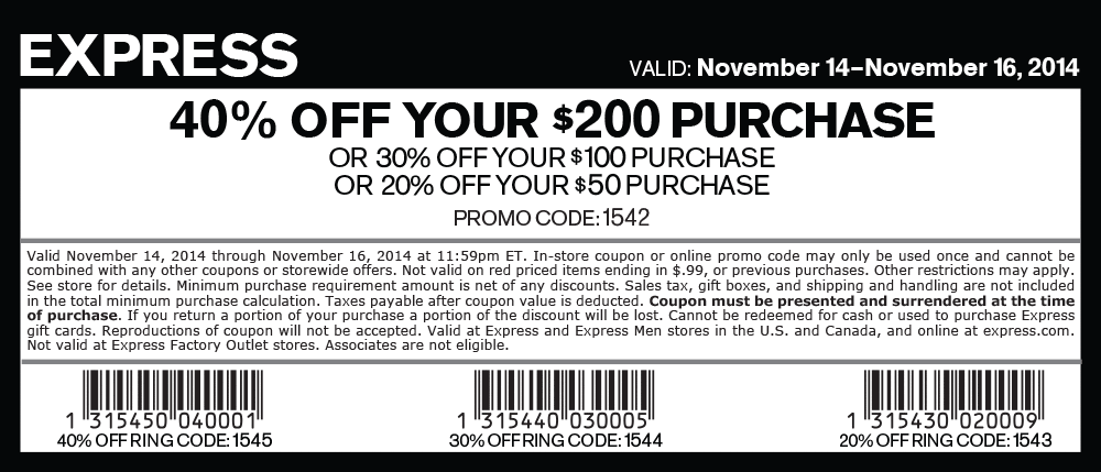 Pinned November 16th 20 Off 50 More At Express Or Online Via Promo Code 1542 Coupon Via The Coupo Promo Codes Online Printable Coupons Clothing Coupons