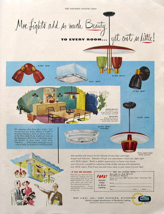 1953 Moe Lights Ad 1950s Midcentury Modern Decor Gift