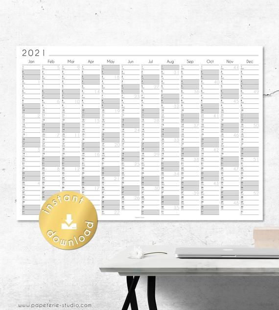 2021 YEARLY WALL CALENDAR printable | Wall Planner 2021 ...