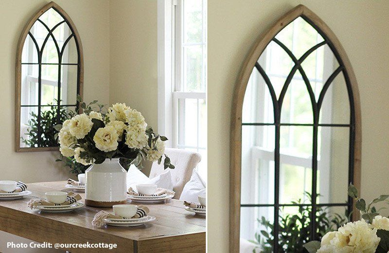 Wood Framed Cathedral Arched Window Mirror French Country