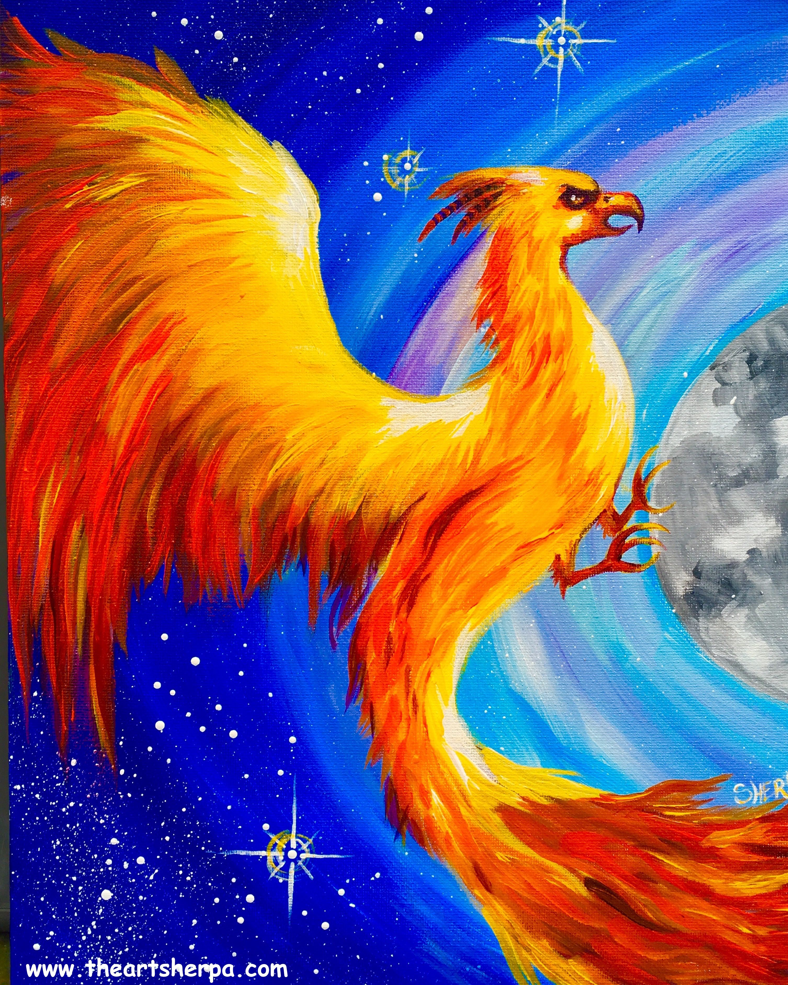 Fawkes the Phoenix Harry Potter Beginner Acrylic Painting Tutorial   Angelooney. Fawkes the Phoenix Harry Potter Beginner Acrylic Painting Tutorial