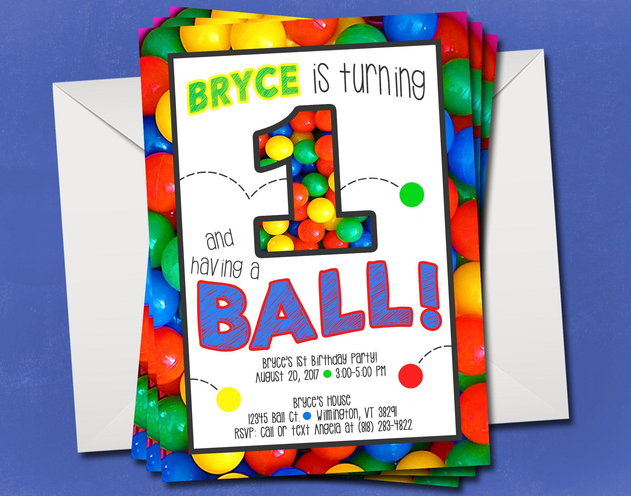 Bouncy Ball Birthday Party Invitation - 1st Birthday - Ball Pit ...