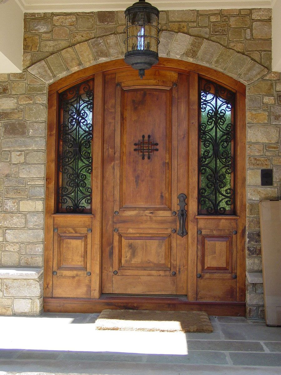 Exterior Amazing Wood Front Entry Door With Twin Sidelights And Wrought Iron