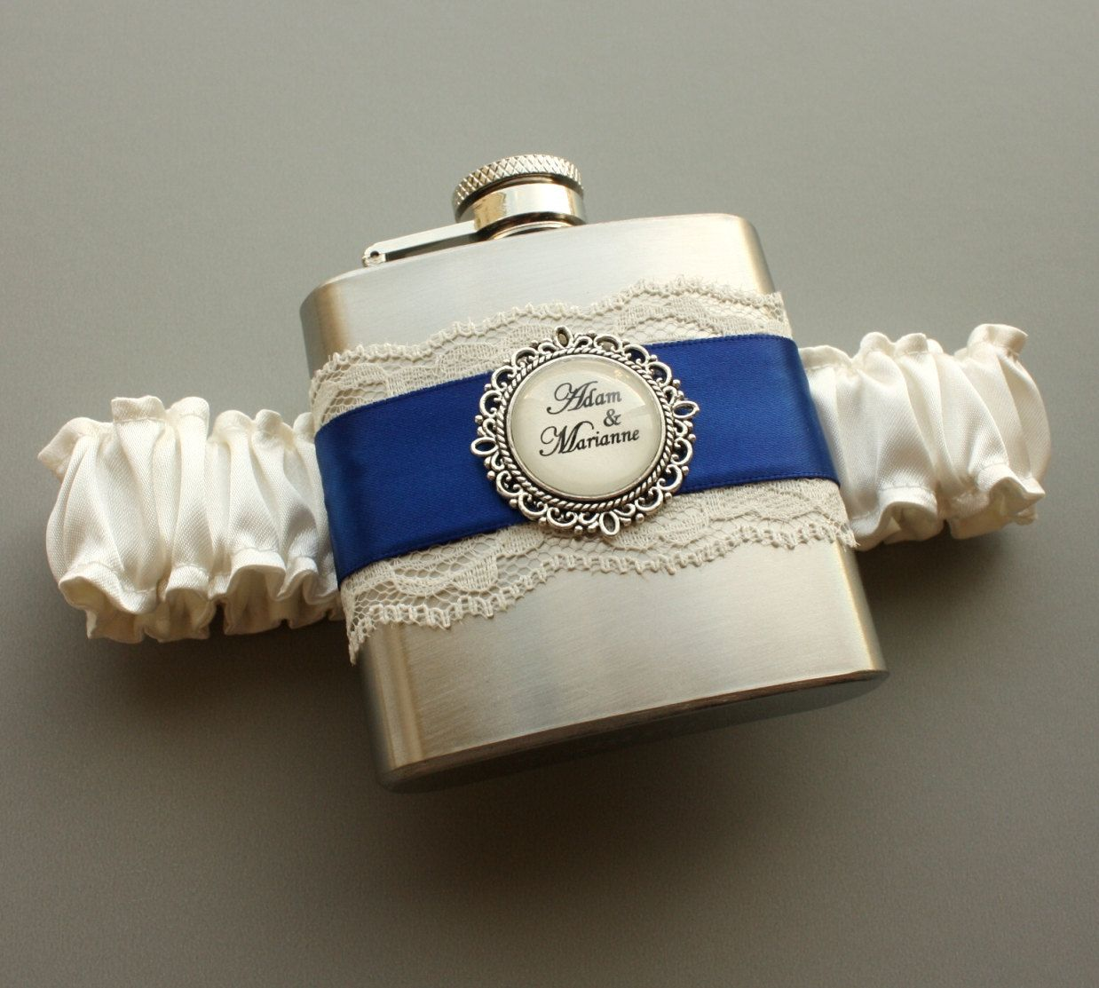 Ivory Wedding Garter, Royal Blue Bridal Garter, Wedding