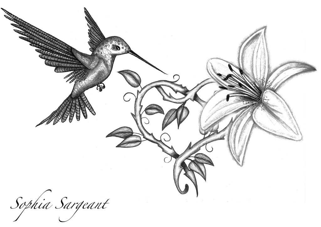 f55a9db26 Hummingbird And Lily Flower Tattoo Design   Tattoos   Hummingbird ...