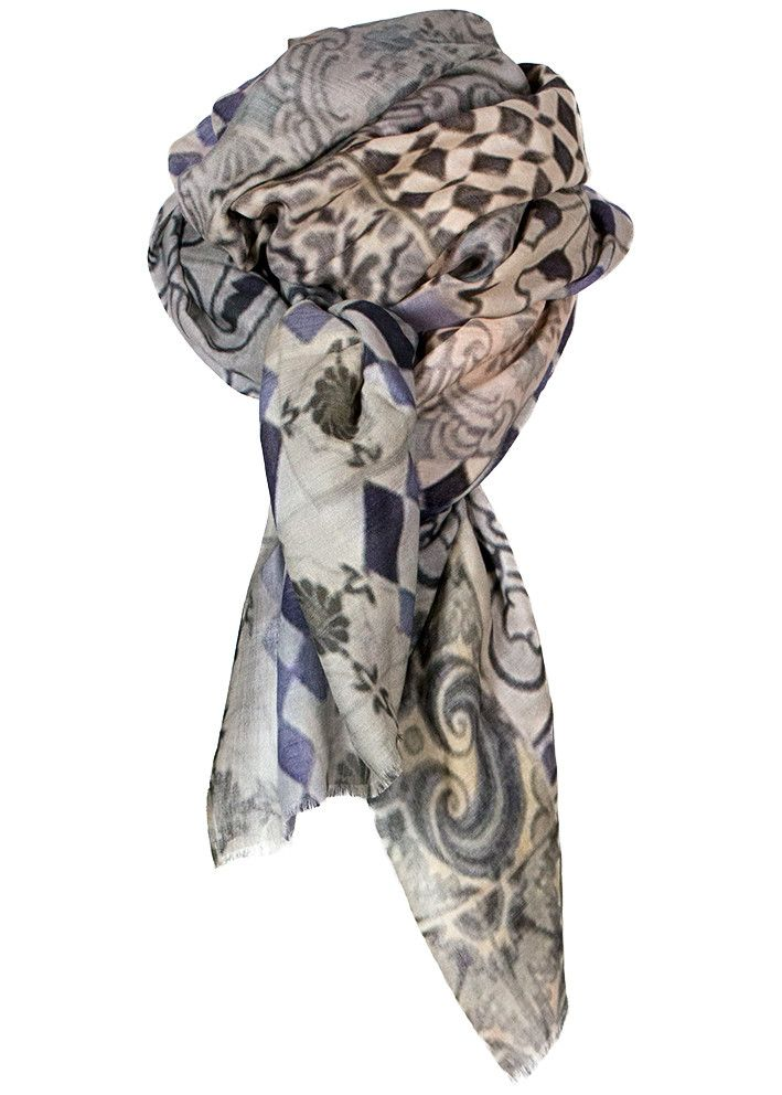 By Birdie Kashmir-silke tørklæde - Cashmere Silk Art Scarf - Art Of Terracotta Blue – Acorns