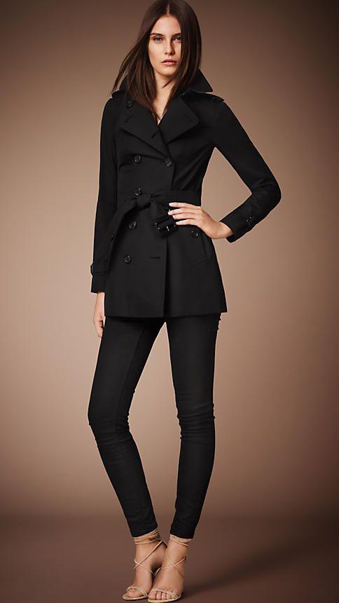 The Sandringham – Short Trench Coat in Black - Women   The Closet ... cc3c85fa3a28