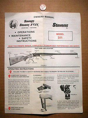 vintage original savage stevens model 311 shotgun owner s manual rh pinterest com Operators Manual Corvette Owners Manual