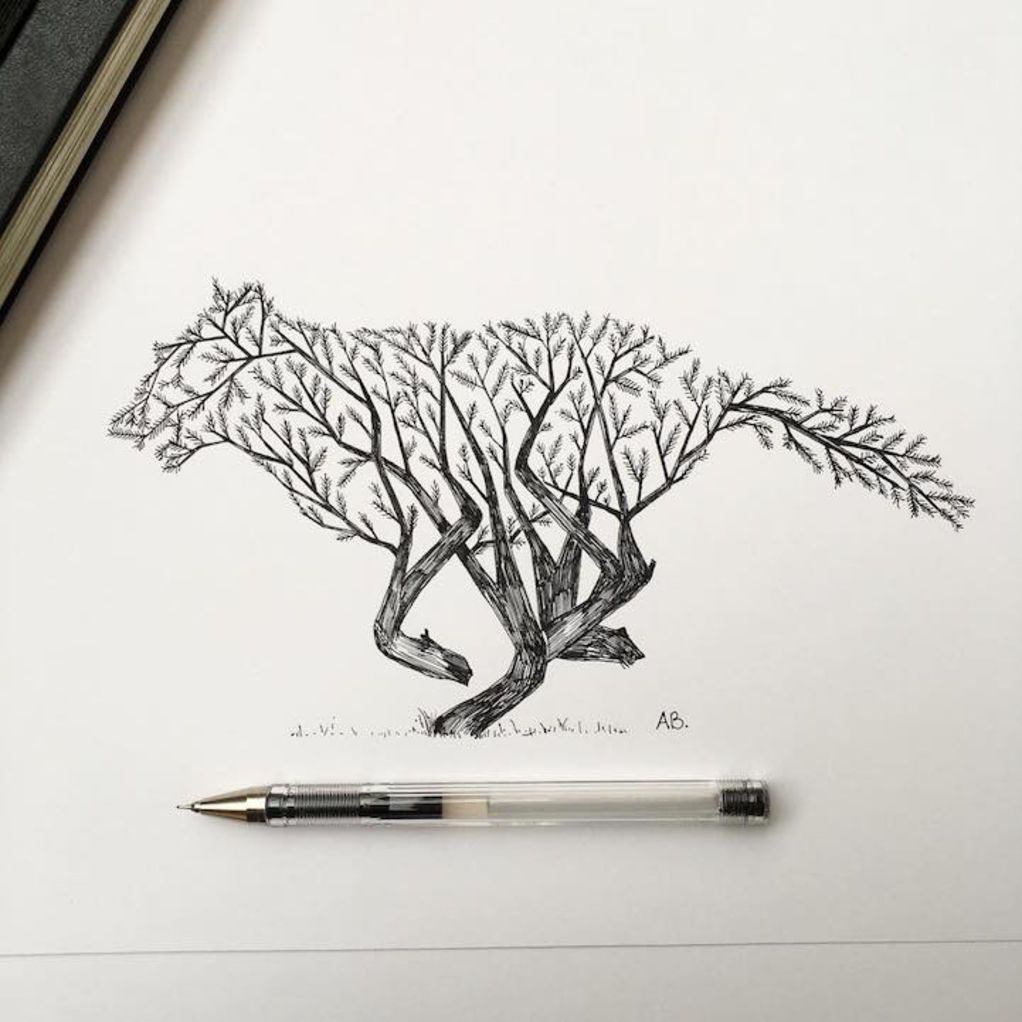Natural Elements And Animals Fused Together In Intricate Pen Drawings Pen Illustration Nature Drawing Ink Illustrations