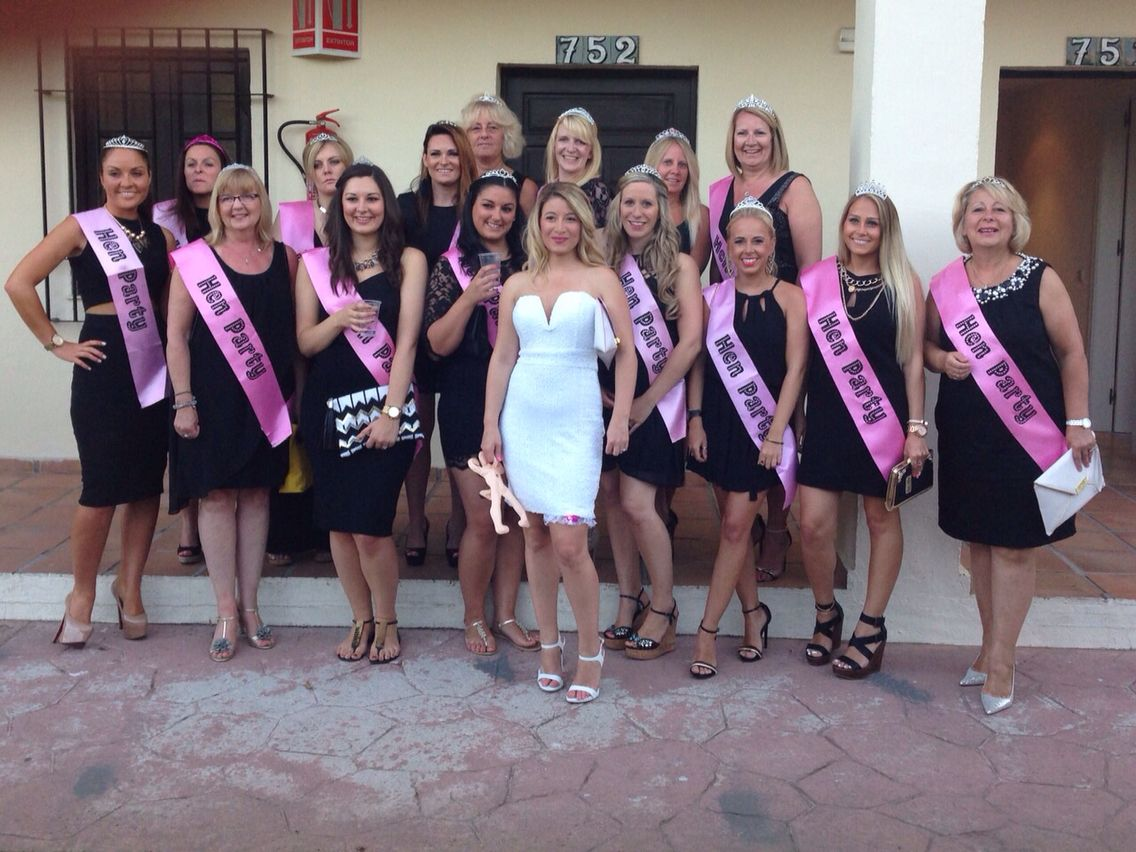 540519f164 My sisters hen do, living it up in marbs! A few ladies missing from the  picture 21 in total! Black dresses, pink sashes and tiaras!