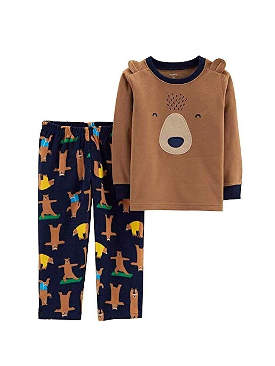 Boys' 2-Piece Fleece Pajama Set - Brown Bear (Brown/Blue) - C418M8K2TU5 | Boys  pajamas, Baby pajamas, Pajama set