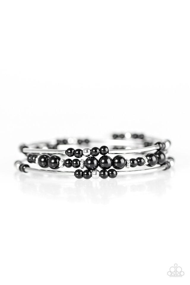 Paparazzi Twisting Tranquility Black Bead Silver Frame Bracelet