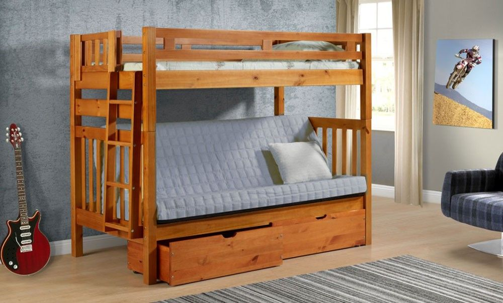 Twin Loft Over Futon With Ladder With Images Bunk Beds With Drawers Bunk Beds Futon Bunk Bed