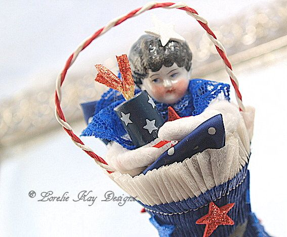 She's a Firecracker Spun Cotton Doll Americana Art Doll Patriotic 4th of July Feather Tree Ornament Tree Decoration