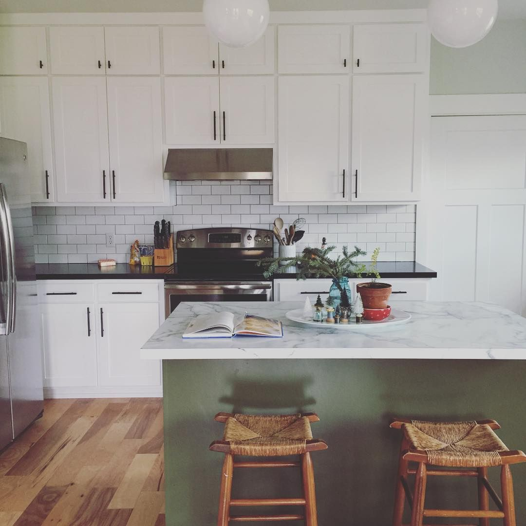 White Kitchen With Olive Green Island Green Kitchen Island New