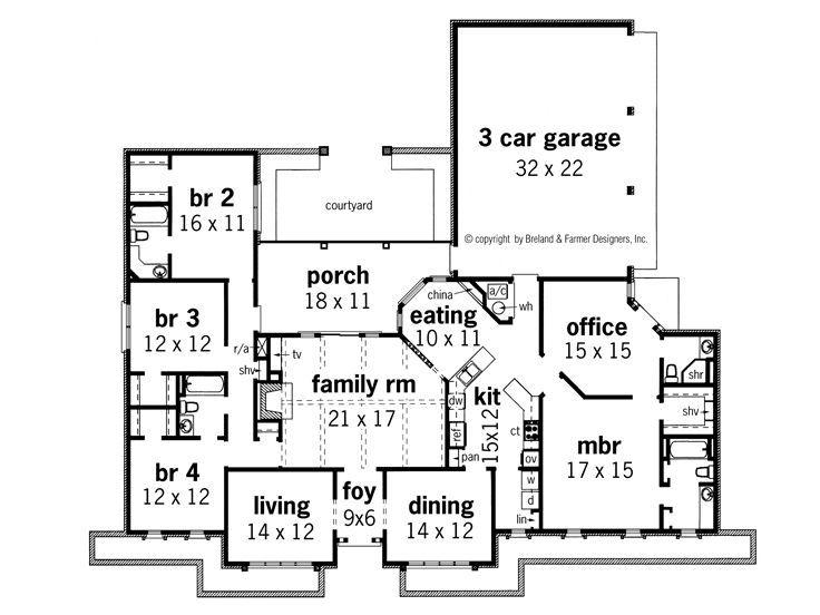 4 bedroom 3 bath dining office 3 car garage ranch for 4 car garage ranch house plans