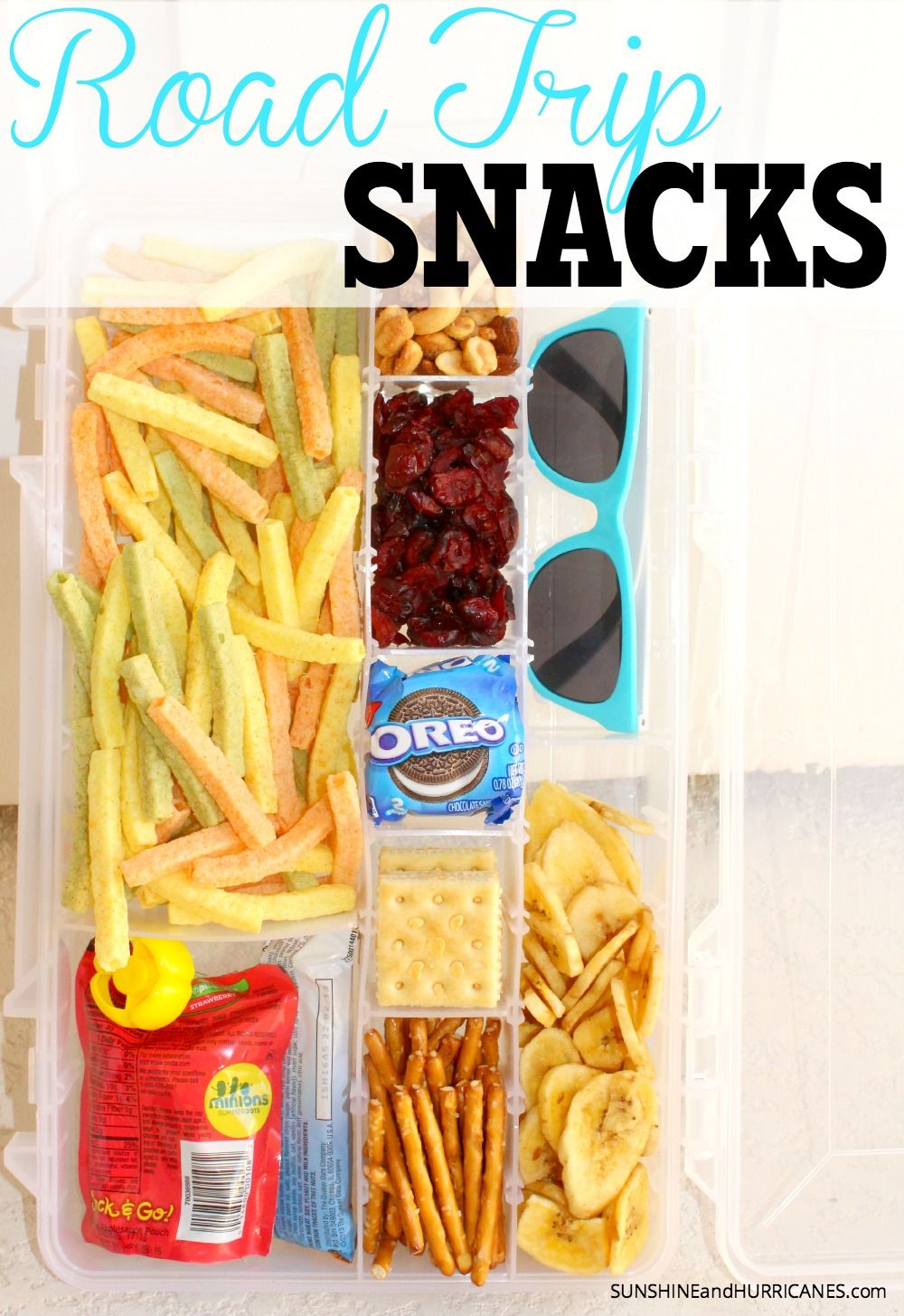 Looking for a super easy and mess free way to carry snacks on a road trip with kids? These cute little dollar store containers can be filled with all your favorites and packed for stress free on the go snacks. Road Trip Snacks. SunshineandHurricanes.com
