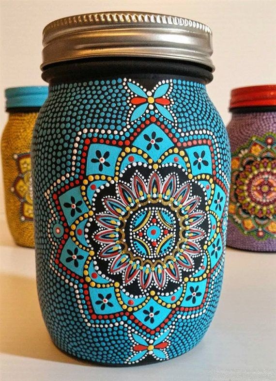 Hand painted glass jar i painted this jar one dot at a for How to paint glass jars