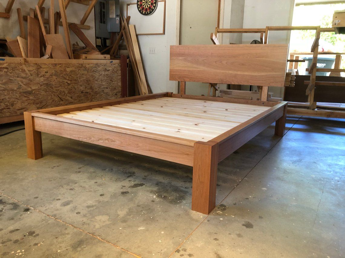 Low Profile Platform Bed In Cherry Simple Bed Frame Solid Etsy Simple Bed Frame Simple Bed Platform Bed