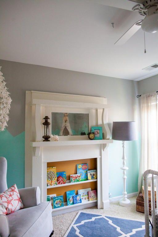 Diy Idea Turn Faux Fireplace Mantle Into Kids Bookshelf Faux