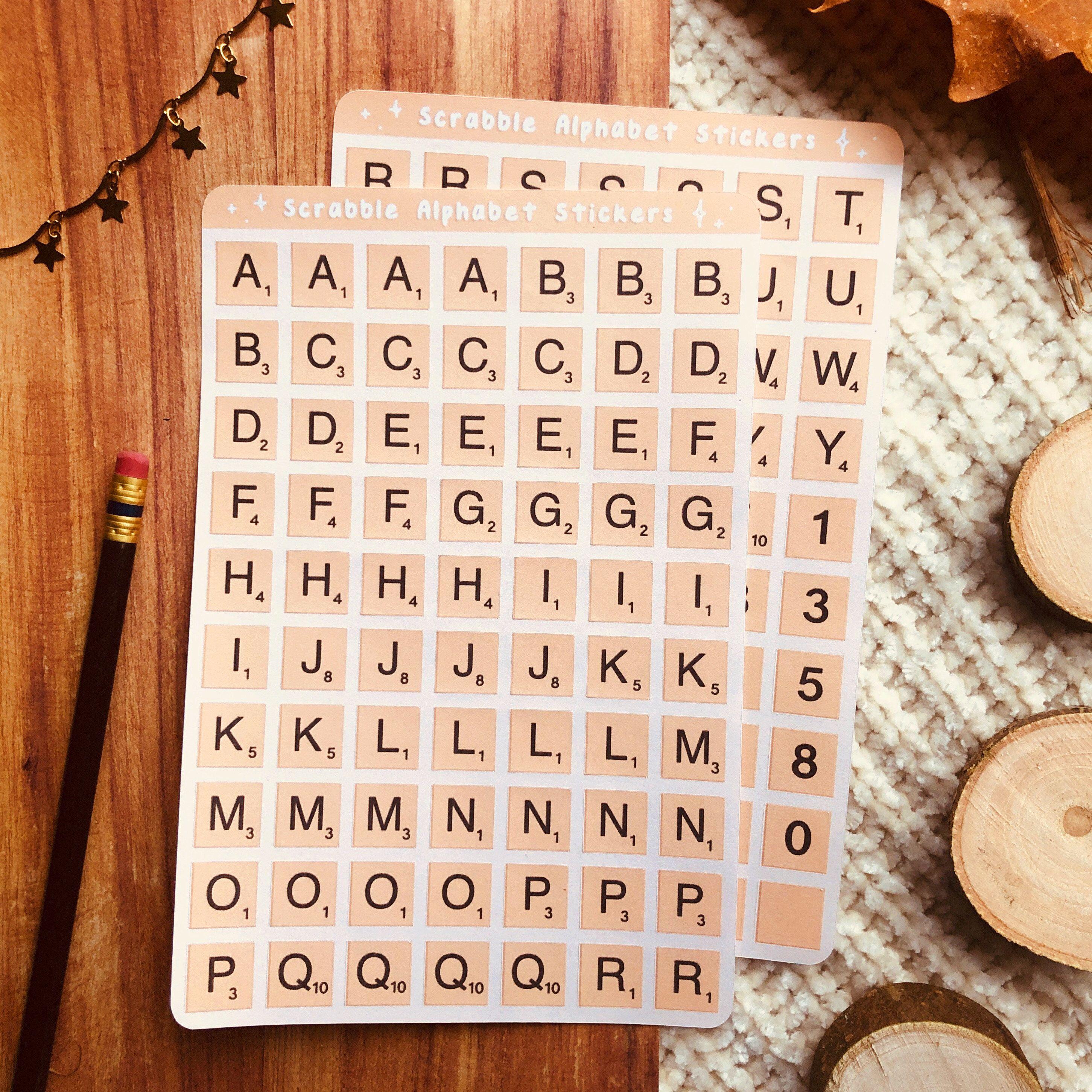 Last Chance Sale Game Alphabet Sticker Sheet Letter Tile Etsy Sticker Sheets Alphabet Stickers Planner Stickers