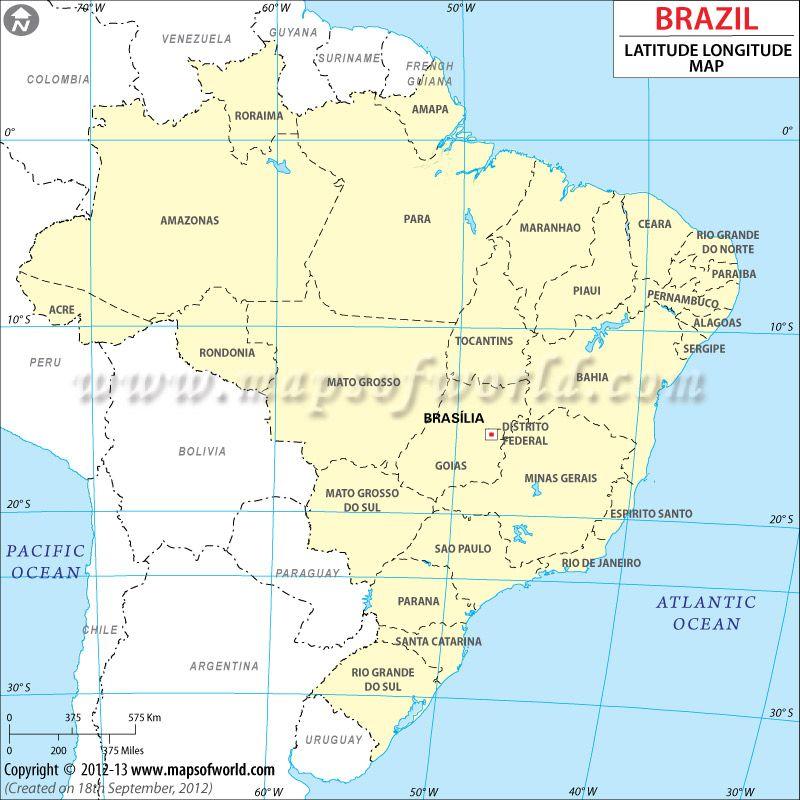 Brazil Latitude And Longitude Map Mapas Aruba Venezuela
