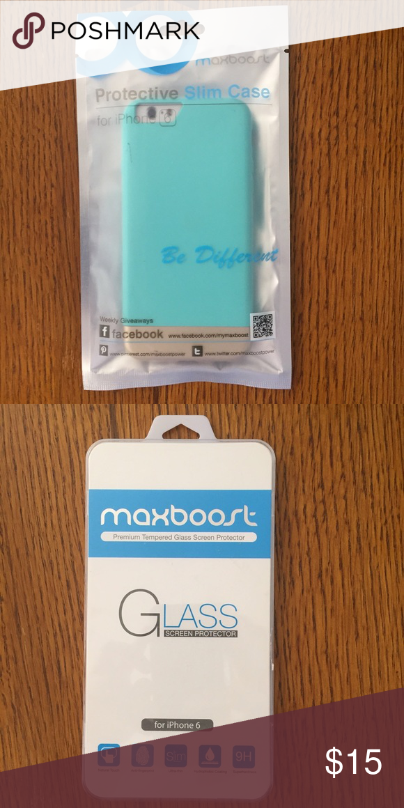 Maxboost IPhone 6 Case + Screen Protector Slim teal and gold iPhone 6 case with screen protector! Never used and still in packaging! Super slim case and high quality screen protector maxboost Accessories Phone Cases