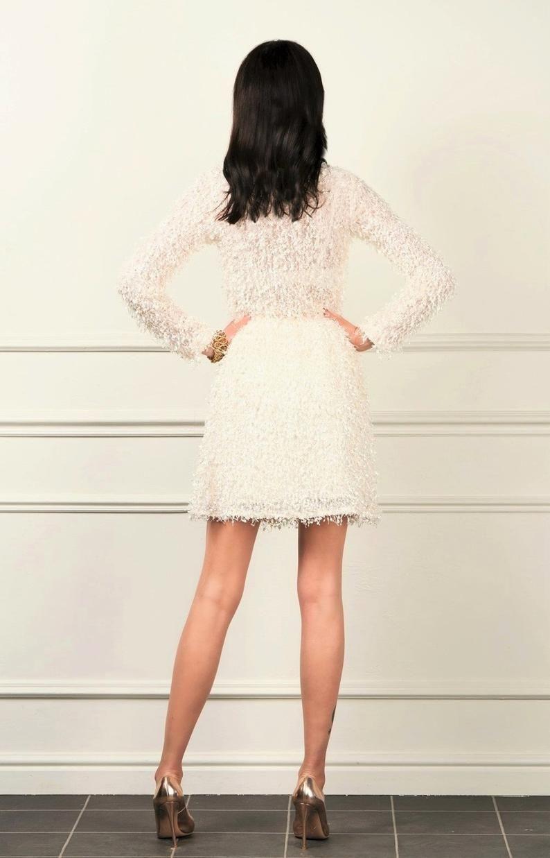 Tassels Short Dress/ Round Neck Long Sleeves/ Off White Dress #navyblueshortdress