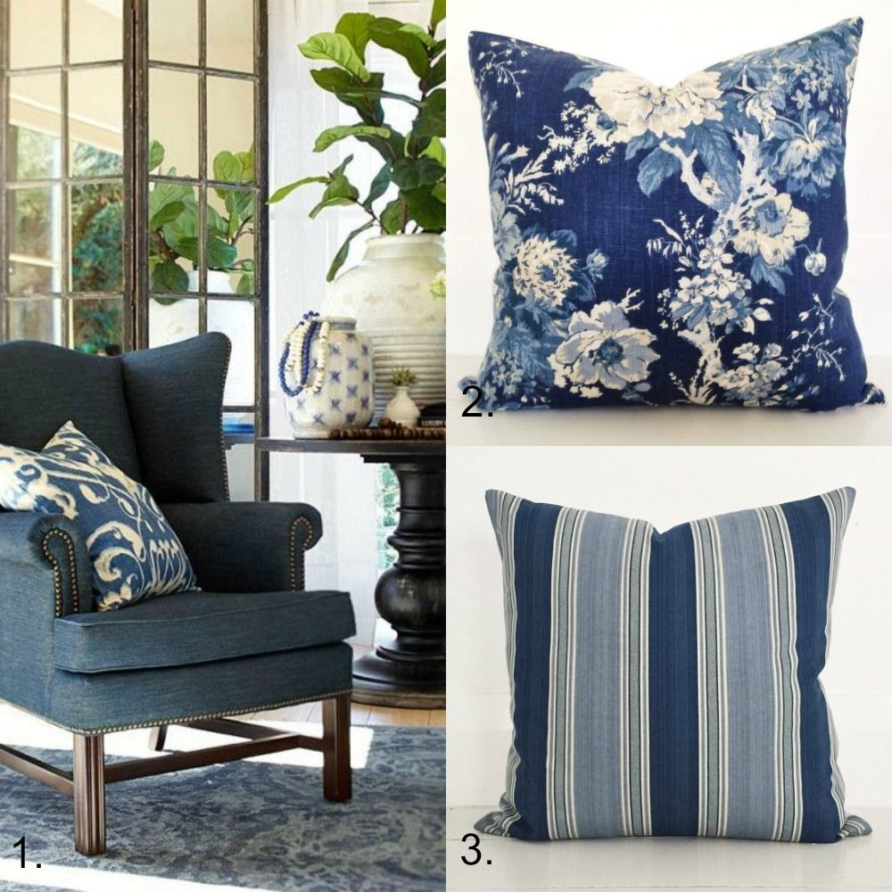 Bring The Shore Into Home With Beach Style Living Room: Blue And White Cushion Collection - Hamptons Style