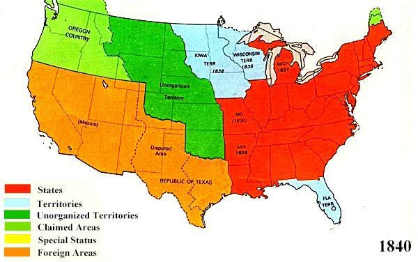 U S Territorial Maps 1840 Education Map U S States History