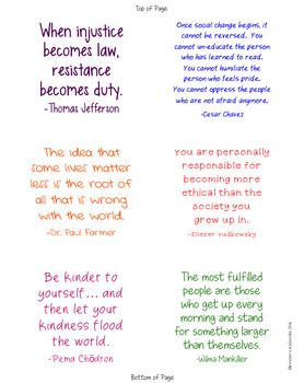 Social Justice Quotes on Sticky Notes | Social Justice Activity Digital