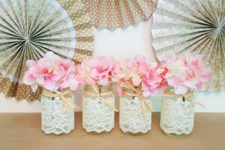 Mason Jars Lace, Vintage Wedding Centerpieces, Rustic Candle Holder ...