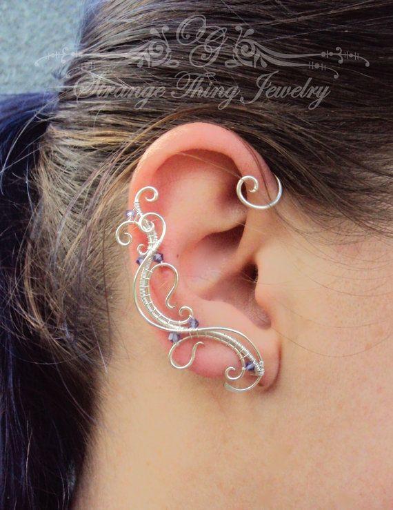 Elf earrings Ear cuffs Rose Pair of ear cuffs Ear cover earrigns Boho ear wraps Ear crawler Ear cuff no piercing
