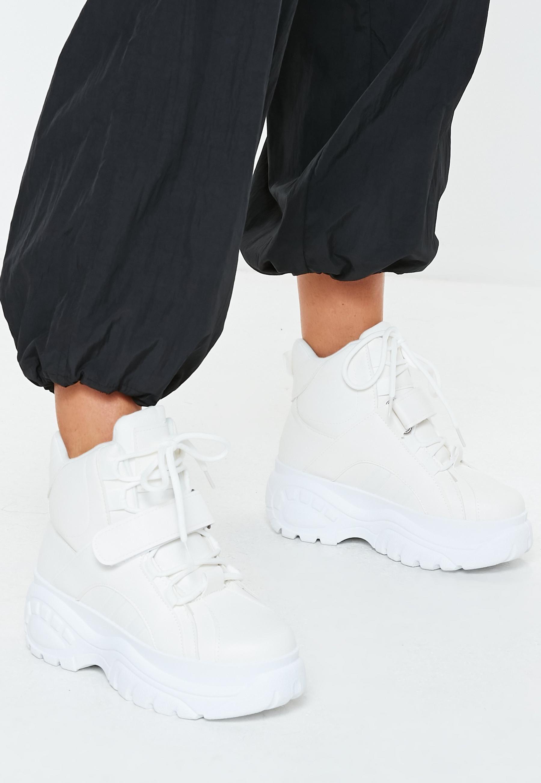c7f3d094fa White Super Chunky Sole Utility Trainer Boots