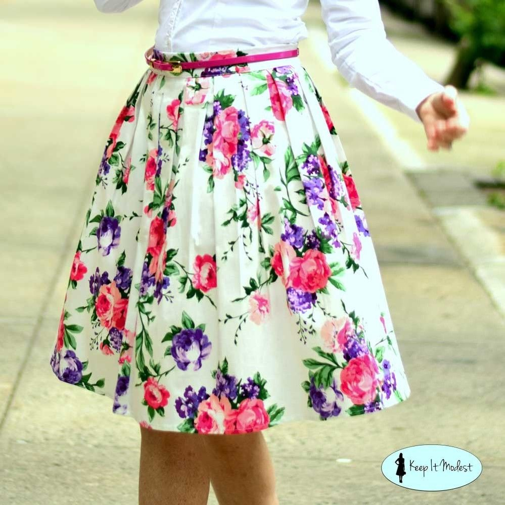 Cotton Floral Modest Skirt, $25.00