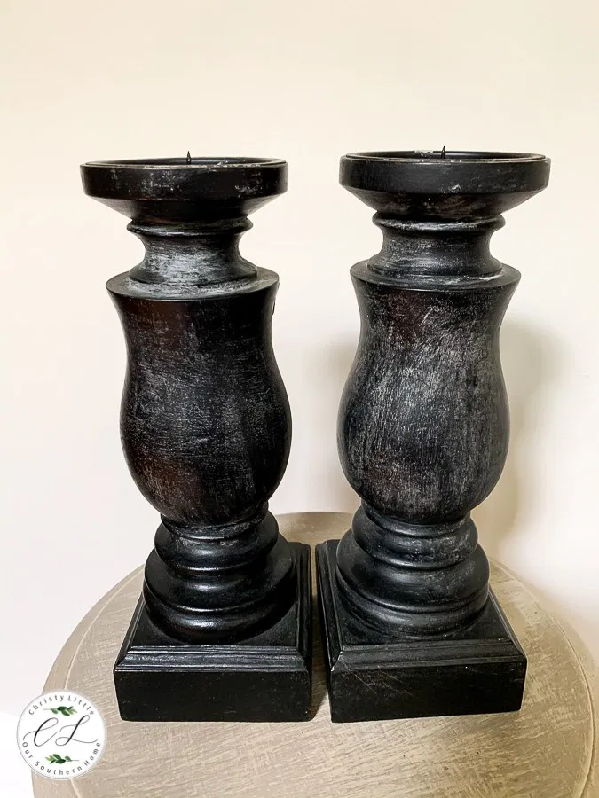 DIY thrift store candle holder makeover with simple paint technique. Layering is key! Check out these simple tips for faux finishing. #thriftstore #thriftstoremeakeover #candlestick #candlestickmakeover #candlemakeover #fauxfinish #diy #paint #layeredpaint #spraypaint #rustic #rusticcandleholder #homedecor #decorating #paint