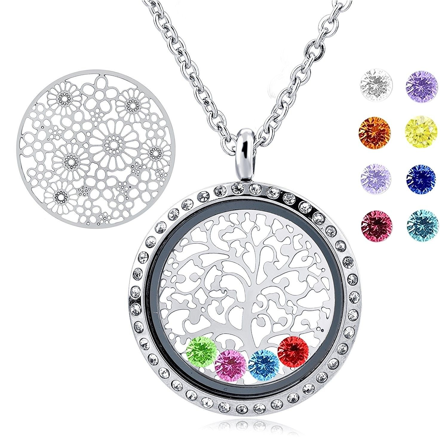 Family Tree of Life Floating Living Memory Locket Pendant Necklace with Birthstone All Charms Included