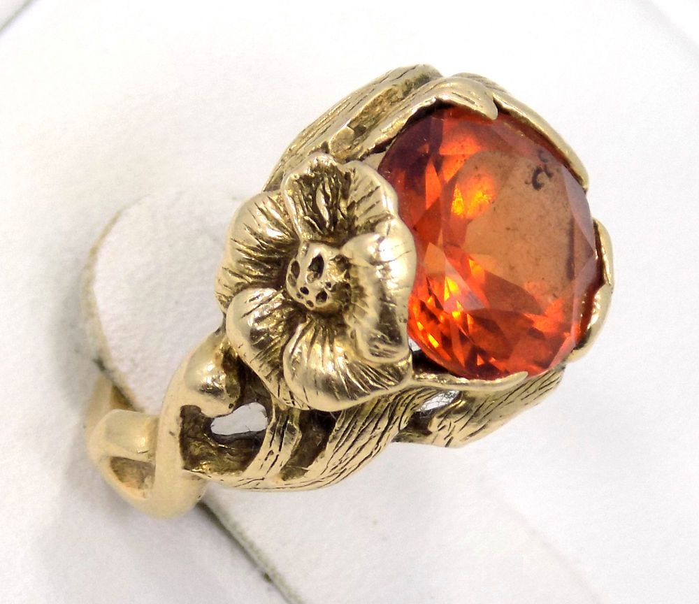 R057 10KY Gold Ring Created Padparadscha Sapphire