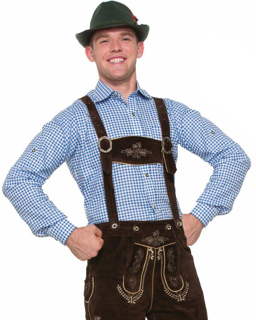 Blue Lederhosen Mens Adult Beer October Fest Costume Shirt