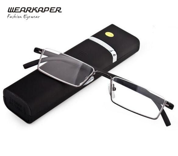 fe0ca19731 WEARKAPER TR-90 Half Metal Frame Slim Portable Compact Reading Glasses Anti  Eye Fatigue W Case+1 +1.5 +2 +2.5 +3 +3.5 +4
